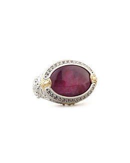 KONSTANTINO Oval Silver & 18k Gold Ruby/Quartz Doublet Ring