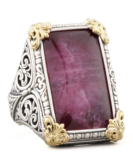 Rectangle Silver & 18k Gold Ruby/Quartz Ring