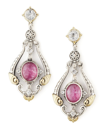 Konstantino Ruby/Quartz Doublet & Sapphire Chandelier Earrings
