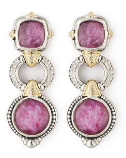 KONSTANTINO White Topaz & Ruby 3-Tier Drop Earrings