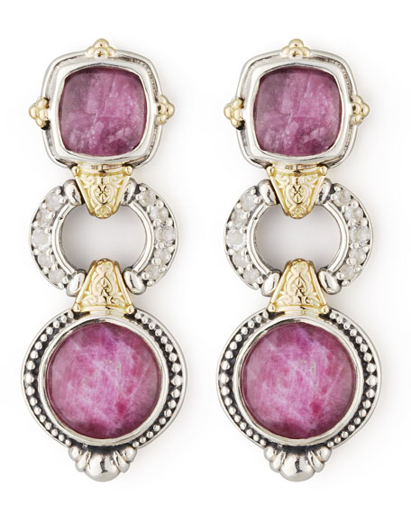 White Topaz & Ruby 3-Tier Drop Earrings