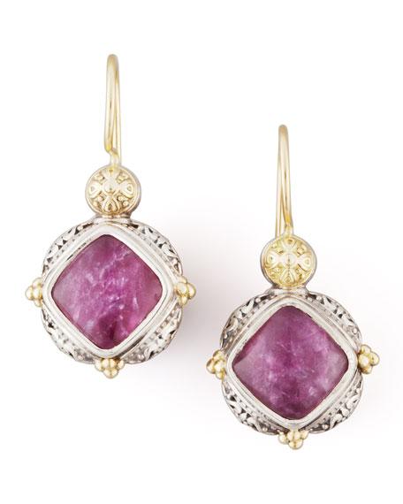 18k Gold & Silver Ruby/Quartz Drop Earrings