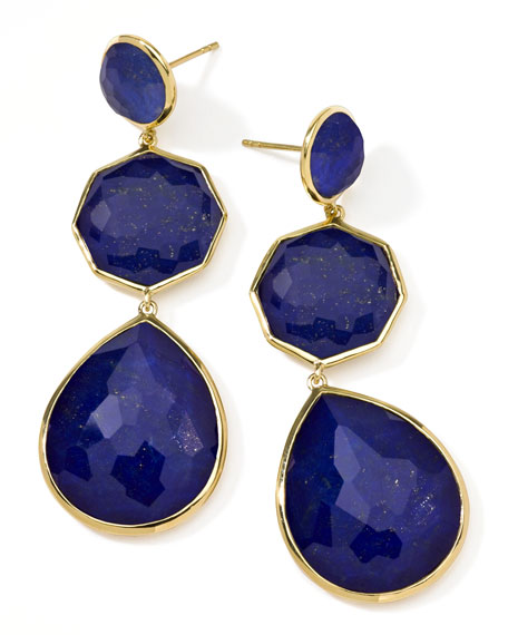 18k Gold Rock Candy Crazy-8 Lapis Earrings