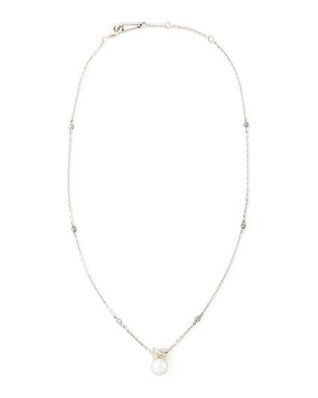 Luna Pearl & Diamond Pendant Necklace