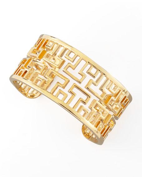Gold-Plated Frete Wide Cuff