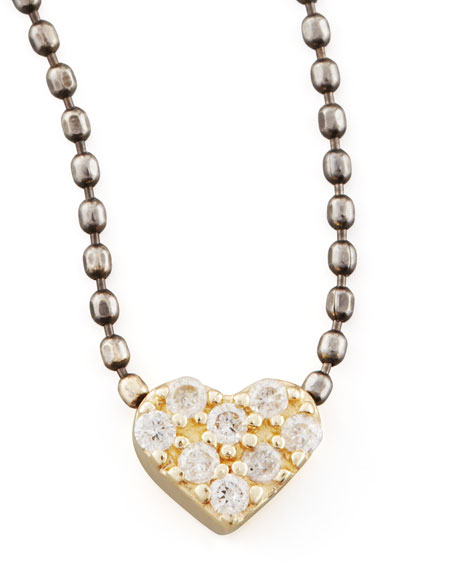 Two-Tone Diamond Heart Pendant Necklace