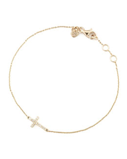 Sydney Evan Small Gold Pave Diamond Cross Bracelet