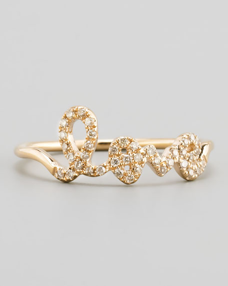 Sydney Evan14k Yellow Gold Diamond Love Script Ring