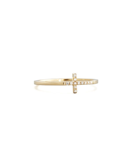 Sydney Evan Pave Diamond Cross Ring, Yellow Gold