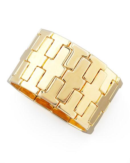 Gold Plate Wide T Stretch Bracelet