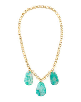 "Devon Leigh Aqua Agate Station Necklace, 32""L"