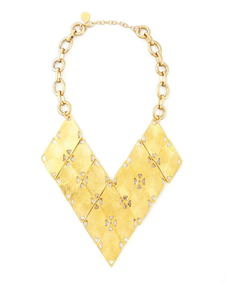 Golden Geometric Bib Necklace