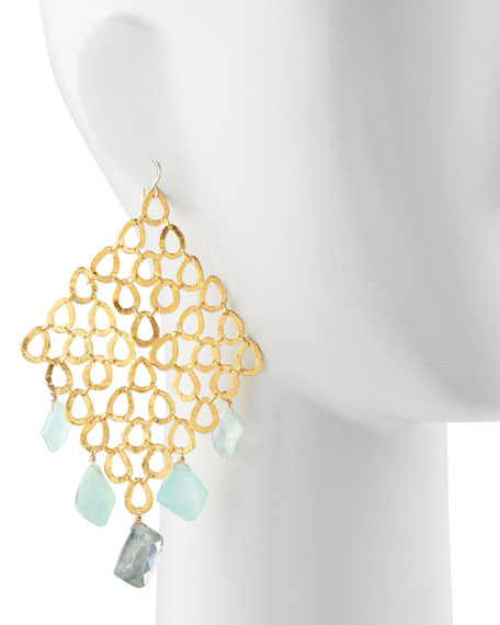 Gold Grid Chalcedony & Quartz Earrings