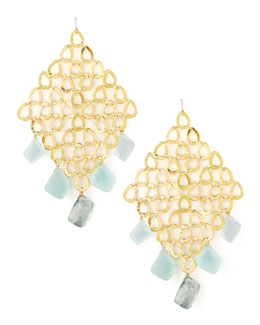 Devon Leigh Gold Grid Chalcedony & Quartz Earrings