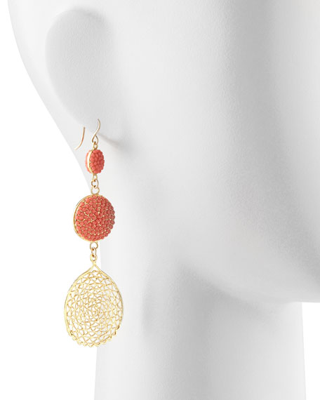 Pave Crystal & Web Drop Earrings