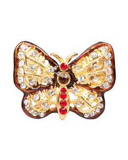 Jay Strongwater Red & Amber Butterfly Tack Pin
