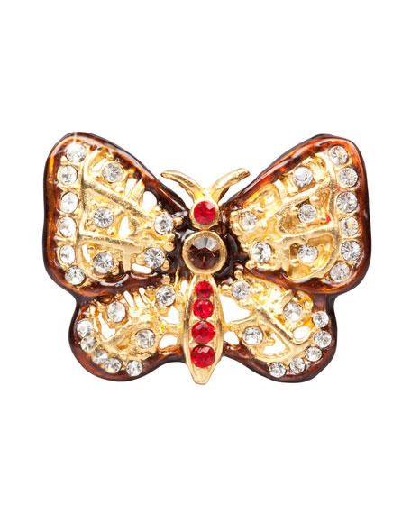 Red & Amber Butterfly Tack Pin