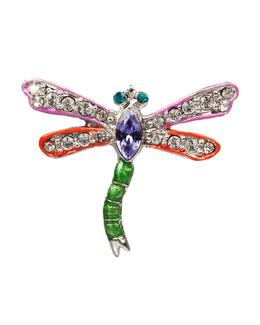 Jay Strongwater Fuchsia & Red Dragonfly Pin