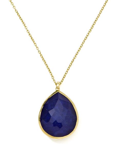 18k Gold Rock Candy Gelato Large Lapis Teardrop Pendant Necklace