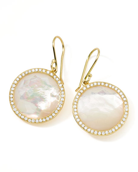 Rock Candy 18k Gold Lollipop Diamond Earrings, Mother-of-Pearl