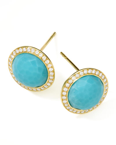 Ippolita Gold Rock Candy Lollipop Diamond Turquoise Stud Earrings