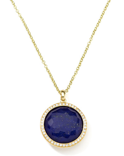 Rock Candy 18k Gold Lollipop Diamond Pendant Necklace, Lapis