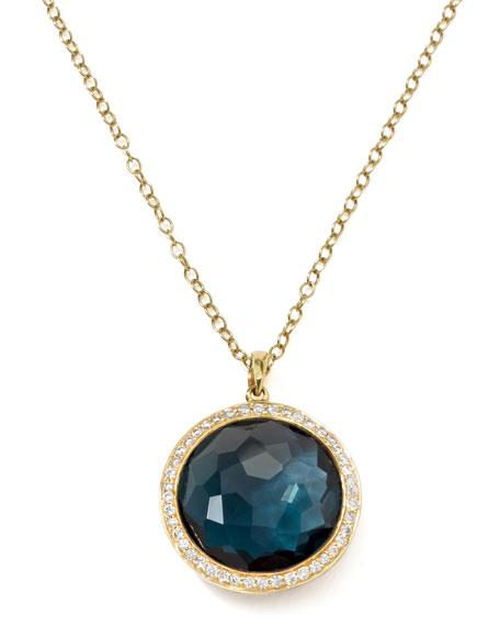 18k Gold Rock Candy Lollipop  Necklace, London Blue