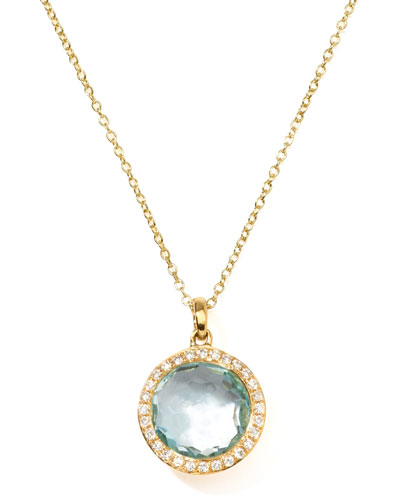 Ippolita 18k Gold Rock Candy Mini Lollipop Diamond Blue Topaz Necklace