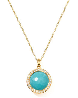 Ippolita 18k Gold Rock Candy Mini Lollipop Diamond Turquoise Necklace