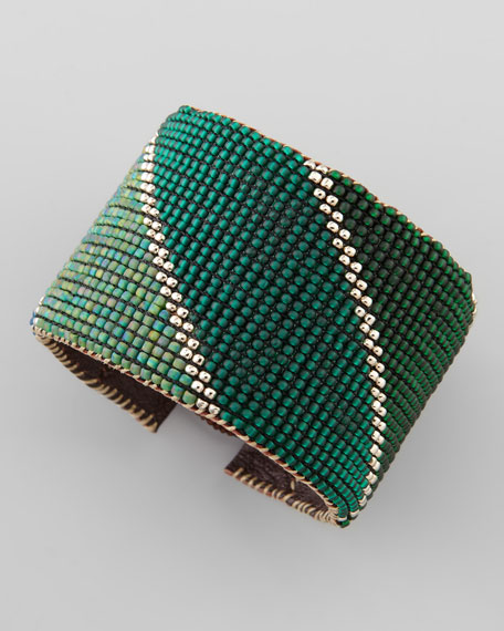 Beaded Leather Cuff, Green/Yellow