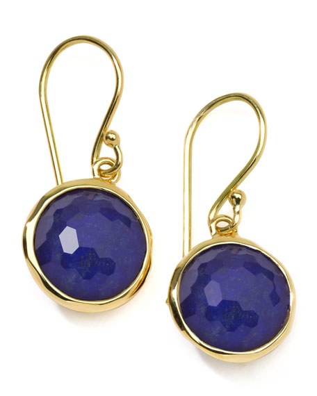 18k Gold Rock Candy Mini Lollipop Lapis Earrings