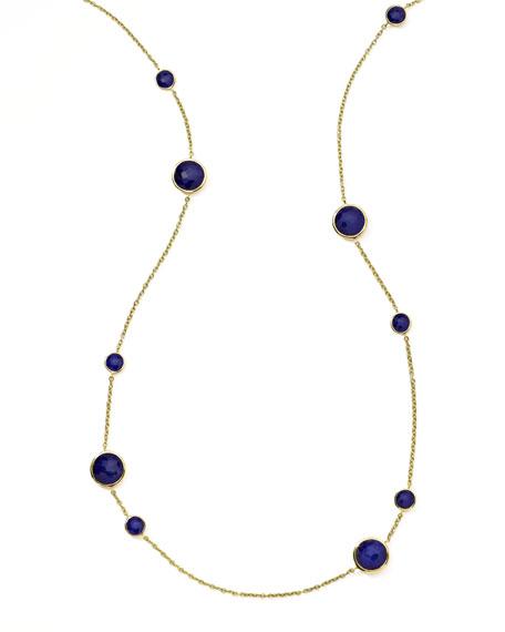 Gold Rock Candy Lollipop Station Necklace, Lapis
