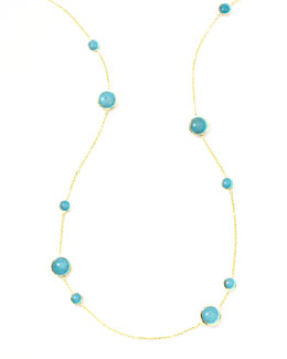Ippolita Gold Rock Candy Lollipop Station Necklace, Turquoise