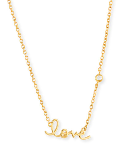SHY by Sydney Evan Love Pendant Bezel Diamond Necklace