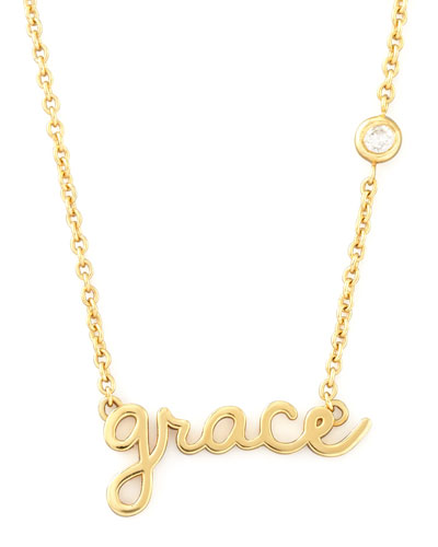 SHY by Sydney Evan Grace Pendant Bezel Diamond Necklace