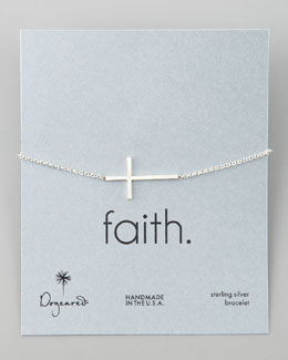 Dogeared Silver Integrated Large Cross Bracelet