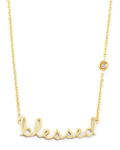 SHY by Sydney Evan Blessed Pendant Bezel Diamond Necklace