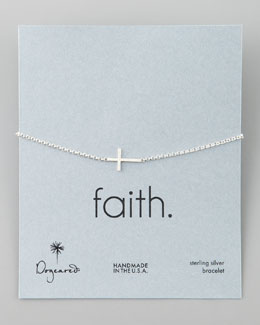 Dogeared Silver Integrated Small Cross Bracelet