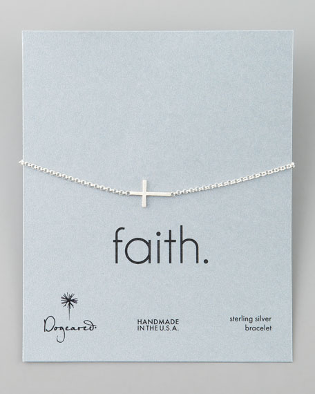 Silver Integrated Small Cross Bracelet