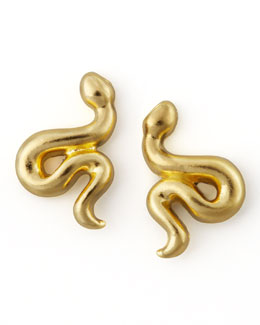 Dogeared Golden Snake Stud Earrings