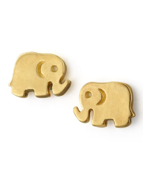 Golden Elephant Stud Earrings