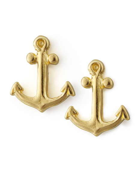 Golden Anchor Stud Earrings