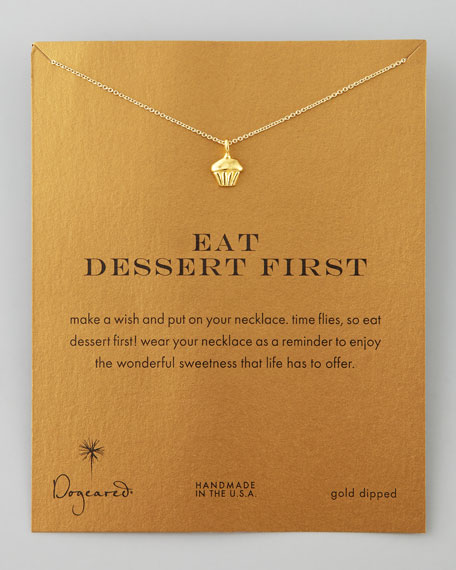Eat Dessert First Cupcake Charm Necklace