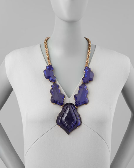 Resin Chandelier Necklace, Dark Purple