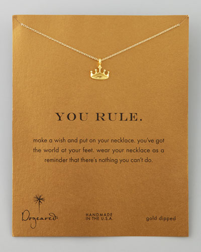Dogeared Golden You Rule Crown Pendant Necklace