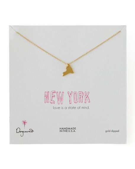 Gold New York State Charm Necklace