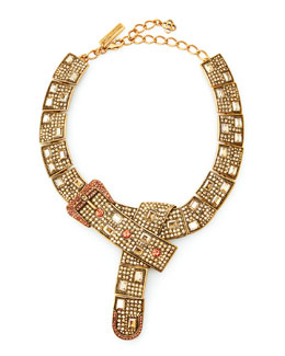 Oscar de la Renta Buckle-Crystal Necklace, Yellow