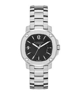 Burberry Brushed Steel Watch with Center Link