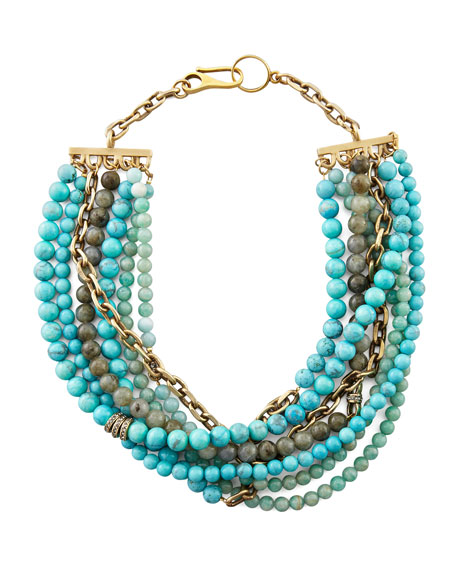 Julie 7-Strand Beaded Necklace, Turquoise