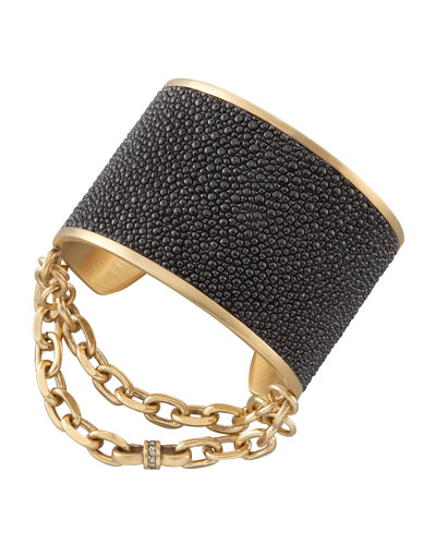 Natalie Stingray Cuff, Black